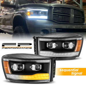 For 2006 2008 Ram 1500 2500 Alpharex Pro Black Sequential Projector Headlight
