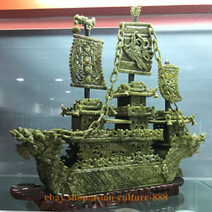 24 China Green Jade Fengshui Dragon Loong Boad Dragon Boat Phoneix Statue