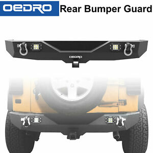 Oedro Rear Bumper Fit For 07 18 Jeep Wrangler Jk Combo With 2x Square Led Lights