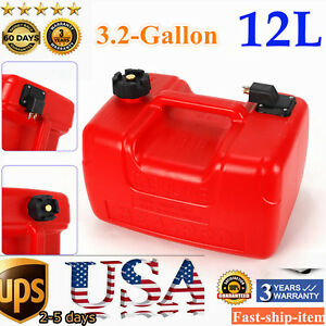 12l Portable Fuel Tank 3 2gallon Outboard Boat Marine Gas Tank With Connector Us