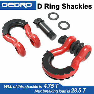 3 4 D Ring Red Bow Shackles W Black Isolators Washer Clevis Kit 4 75 Ton