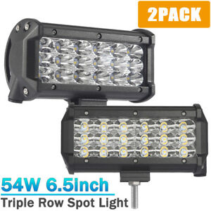 2x 6 5 Inch 54w 18 Led Work Light Bar Spot Beam Suv Truck Car Driving Fog Lights