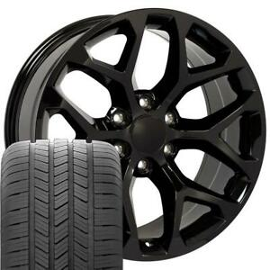 20 Rims Tires Fit Gm Chevy Sierra Silverado Gloss Black Wheels Gy Tires 5668