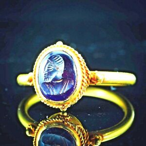 Ancient Purple Amethyst Gems King Intaglio Signet Genuine Solid 22k Gold Ring