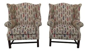 30466ec 67ec Pair Golf Bag Upholstered Chippendale Wingback Chairs