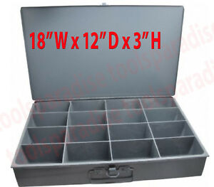 Durham Metal Compartment Box Drawer Cabinet Shelving Storage 18x12x3 In