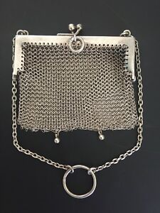Antique England Birmingham 1900s Sterling Silver Mini Ladies Mesh Purse