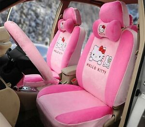 17 Piece Super Soft Pink Hello Kitty And Bunny Car Seat Covers