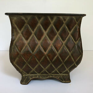 Container Square Brushed Decorative Rustic Metal Pot Copper Color Accent