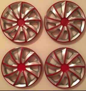 14 Inch Hubcaps Wheel Covers Universal Wheel Rim Cover 4 Pieces Set Silver Red