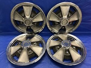 Vintage Set Of 4 1965 66 Chevrolet 14 Mag Hubcaps Chevelle Chevy Ii Impala Gc
