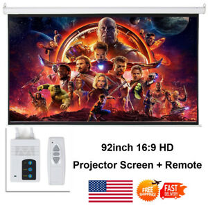 Usa 92 16 9 Hd Foldable Electric Motorized Projector Screen remote Projection