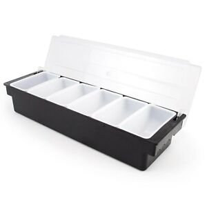 Cocktailor Bar Top Food And Condiment Dispenser 6 Tray Plastic Garnish Station