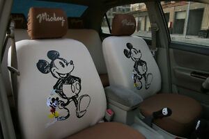 10 Piece Brown Mickey Mouse Walking Car Seat Covers