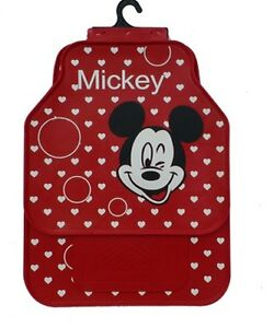 Red And White Hearts Mickey Mouse Waterproof Car Mats