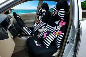 Happy Mickey And Minnie Black White Stripy Car Seat Covers