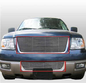 Ford 2003 2006 Expedition Suv 4d Polished Front Upper Bumper Billet Grille Combo