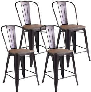 Bar Chair Chairs Stool Set 4 Dining Windsor Wicker Kitchen Oak Farmhouse