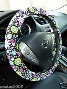 Hand Made Steering Wheel Covers Retro Bright Flowers On Black