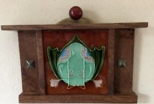 Arts Crafts Tile W Handcrafted Mission Oak Frame With Antique Brass Catalin