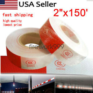 2 X150 Red White Reflective Conspicuity Car Trailer Safe Tape Approved 1 Roll