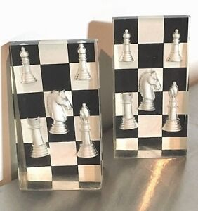 Vintage Pair Lucite Chess Pieces Bookends Mid Century Modern B W Checkerboard