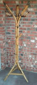 Vintage Bamboo Rattan Coat Rack Hall Tree Bent Wood Mid Century Modern Awesome