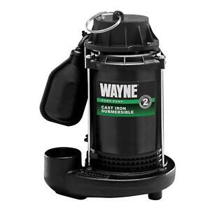 Wayne 1 3 Hp Cast Iron Submersible Sump Pump W Tether Float Switch Submersible