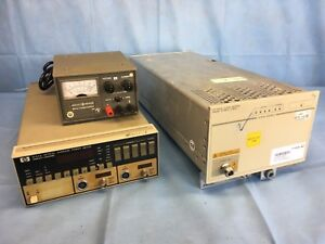Lot Of 3 Hp 70311a Clock Source 8152a Optical Average Power Meter 6214a Supply