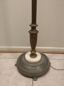 Antique Art Nouveau Floor Lamp Marble Pot Metal Ornate 3 Candlabra Multi Watt