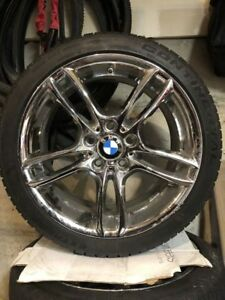 Set Of 4 Authentic Bmw Style 261 Chrome Wheels And Continental Tires