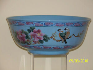 Rare Chinese Republican Sky Blue Glaze Hand Painted Design Large Punch Bowl