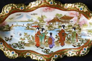 Superb Japanese Meiji Era Satsuma Takahata Porcelain Tray Vase Moriage Antique
