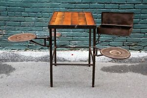 Industrial Antique Swing Out Arm Stool Seat Vintage Workbench Table Desk Toolbox
