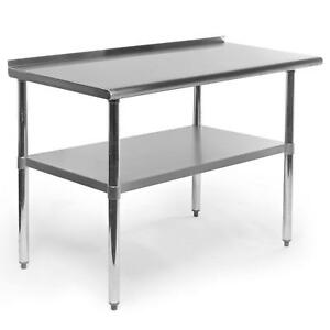 Stainless Steel Kitchen Restaurant Work Prep Table With Backsplash 24 X 48