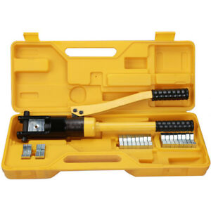 16 Ton Hydraulic Wire Terminal Crimper Battery Cable Lug Crimping Tool W dies
