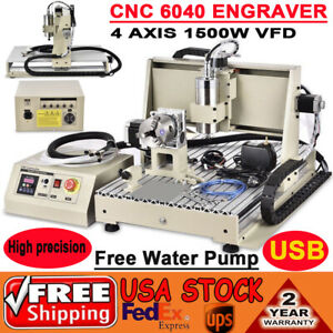 4 Axis Usb 1500w Cnc 6040t Router Engraver Engraving Drilling Milling Machine Us