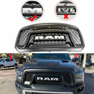 For 2013 2018 Dodge Ram 1500 Grille Abs Honeycomb Bumper Grill Rebel Style Black