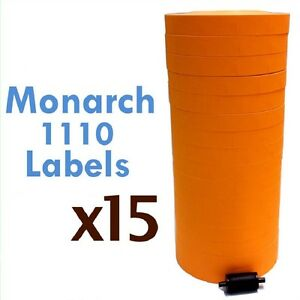 Monarch 1110 Label Gun Orange Labels One Line Price Gun Labels Case 15 Sleeves