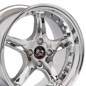 17x9 Wheel Fits Ford Mustang 4 Lug Cobra R Dd Rivets Chrome Rim Rear B1w