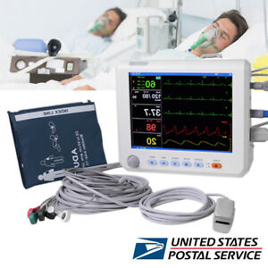 Medical Vital Signs Patient Monitor 6 parameters Spo2 Pr Nibp Ecg Resp Temp