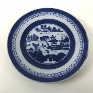 Antique Canton Porcelain Blue White Willow Plate 70