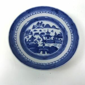 Antique Canton Porcelain Blue White Willow Plate 74