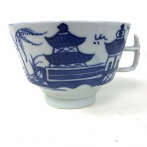Antique Canton Porcelain Blue White Willow Tea Cup 87