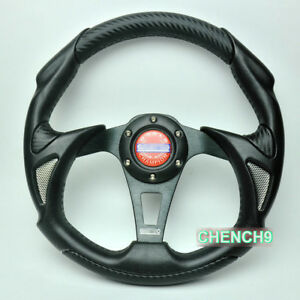 13inch Universal Racing Sport Car Steering Wheel Alloy Pu pvc Black Leather