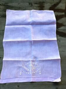 Vintage Lavender Embroidered Linen Tea Towel