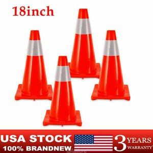 4pcs 18inch Premium Grade Pvc Traffic Cones Safety Red Sports Reflective Warning