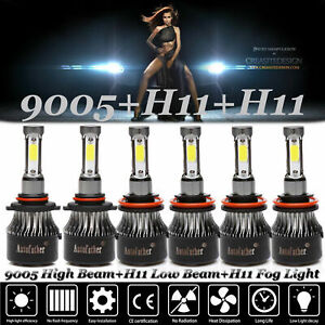 3sets 4 side Combo H11 9005 H11 Led Car Drl Headlight Kit High Low Beam Fog Bulb
