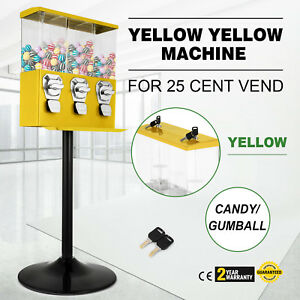 Yellow Triple Bulk Candy Vending Machine Adjustable Candy With Stand Newest