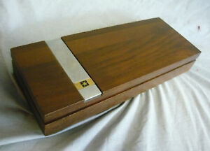 Vintage Pacific Telephone Walnut Wood Cigar Box Pencil Pen Box Bell Retro
